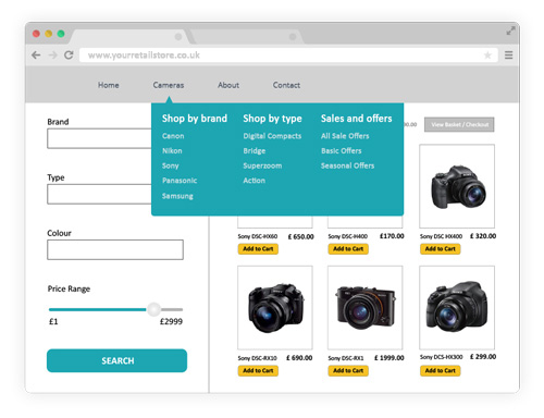 Example of good ecommerce website navigation